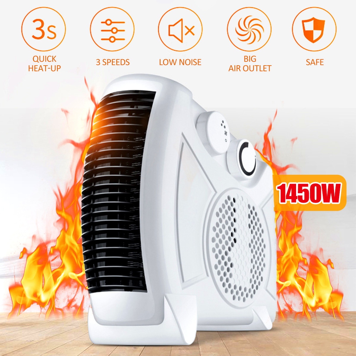220V 1450W US Plug Electric Heater Mini Fan Heater Desktop Household Handy Heater Stove Radiator Warmer Machine For Winter
