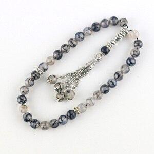 Image 5 - 8mm Perlen Natürliche Achat Runde Dekorative Perlen 33 Islamischen Rosenkranz Muslimischen Tasbih Allah Perlen Armband Quaste Anhänger tesbih
