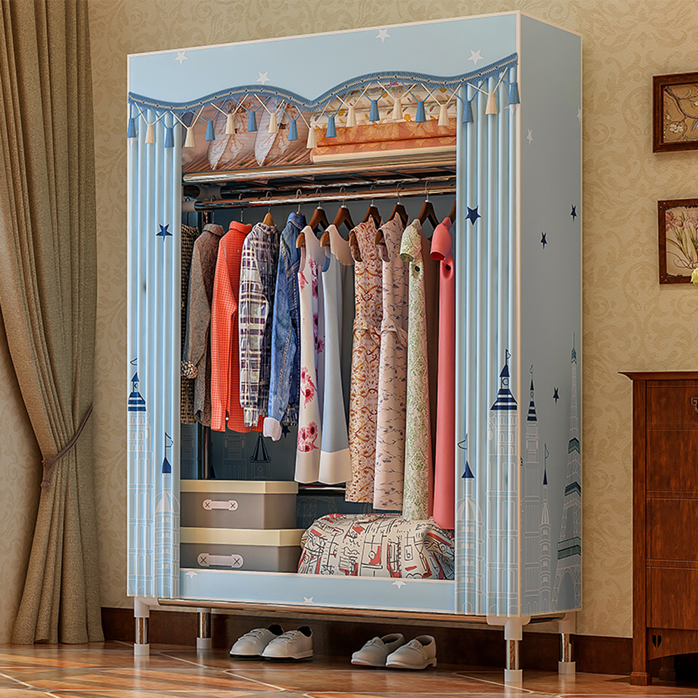 Organizer Clothing-Rack Wardrobe Storage-Cabinet Fabric Fleece