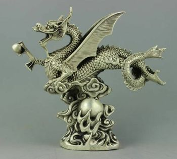 Collection Chinese Carved Rare Tibet Silver Animal Zodiac Dragon Exquisite Small Statues Gift