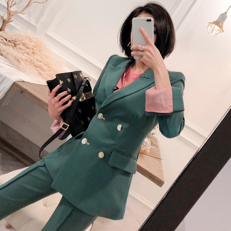 2019 New Korean Women Pant Suit Pink Green Double Breasted Blazer & High Waist Pant Elegant Sweet Work Office Lady Basic Suits