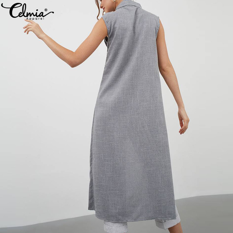 Mangas Moda 2019 Khaki Tops Mujer Casual Split Blusas Celmia Verano Camisas Sin Túnica Suelto gris Asimétrica Botones Bd8FXqxd