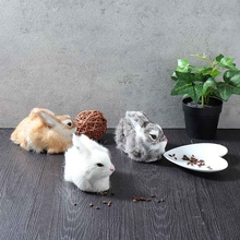 Cute White Plush 15cm Mini Realistic Rabbits Crouching Animals Models Simulation Rabbit Handmade Dolls Stuffed