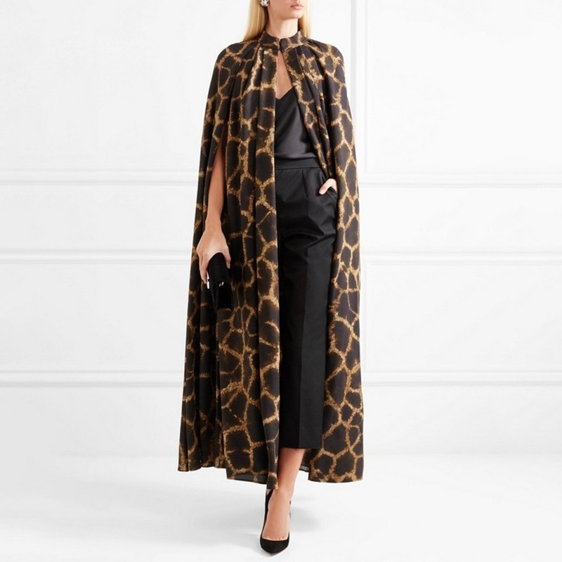 [MENKAY] Female Cardigan Coat O Neck Cloak Sleeve Print Leopard Maxi Cloaks For Women 2018 Autumn Vintage Fashion Tide