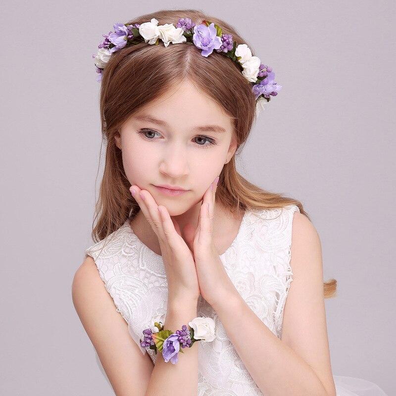 Blumenkranz Haare Kinder : 2018 children flower crown wedding hair accessories party ~ Watch28wear.com Haus und Dekorationen