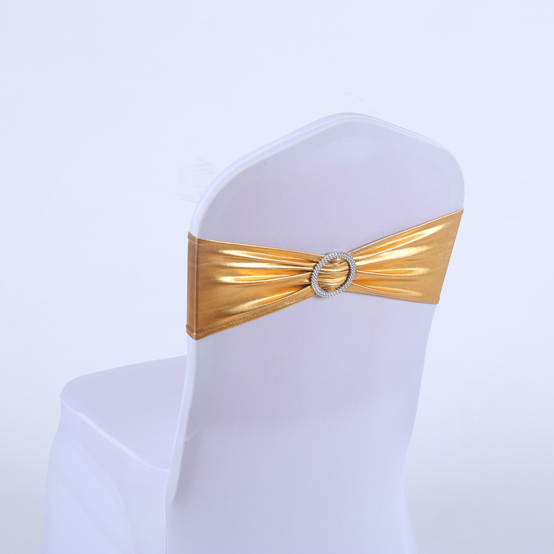 YRYIE 20pcs/lot Bronzing Gold Spandex Chair Cover Stretch Sashes With Band Buckle Slider For Wedding Ceremony Decoration