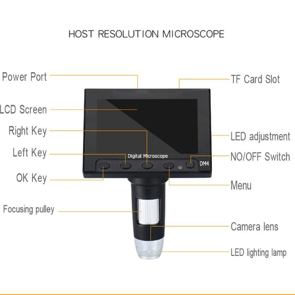 1000x Mega Pixels Digital Microscope with LCD Display and 8 LEDs Stand for Motherboard Repair 3