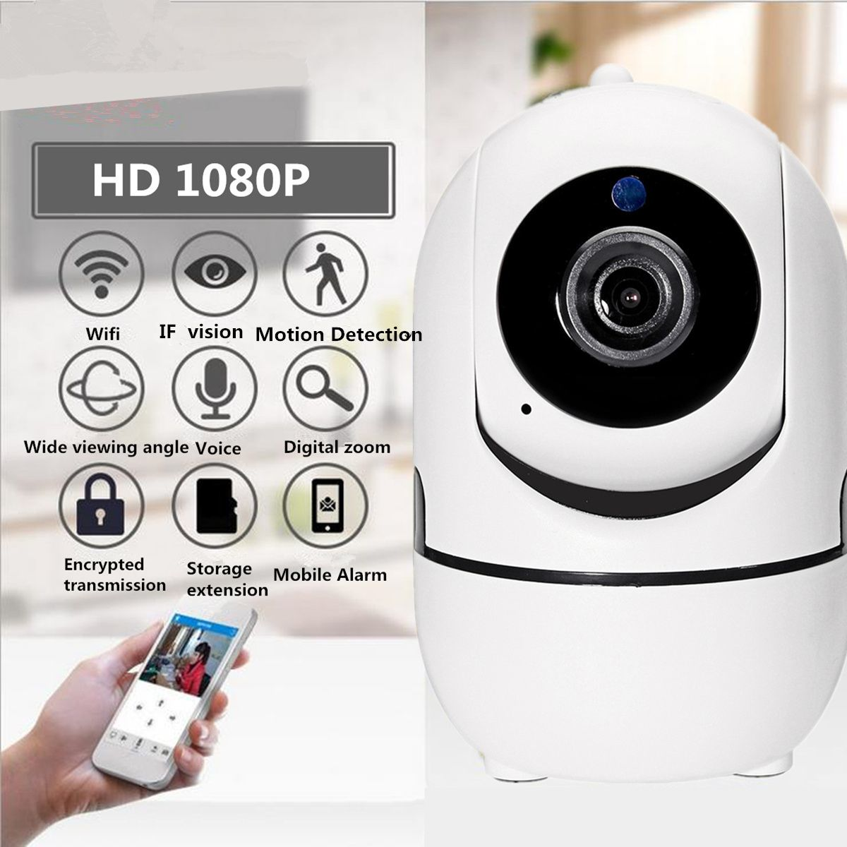 1080P HD WIFI Wireless IP Camera Network Wifi Indoor Infrared Night Vision Camera Home Security Surveillance Camera Alarm Sensor