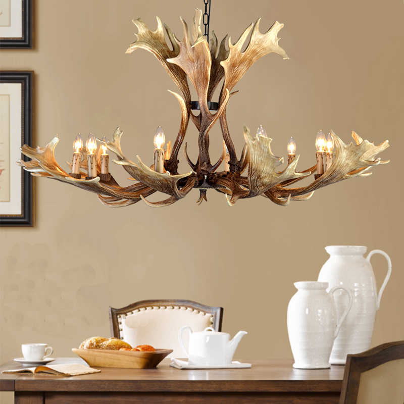 SETTEMBRE Big Size Led Brown Resin Lamp Modern LED Antler Lustre Chandeliers E14 Vintage Lighting