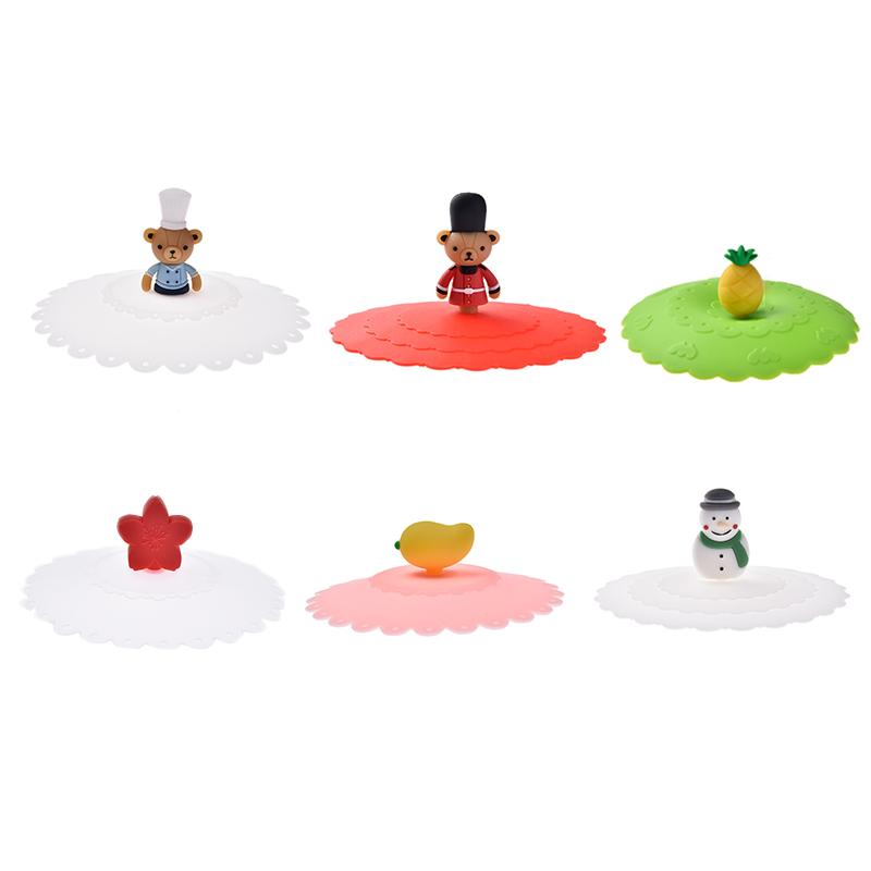 Cup Lids Sealed-Cover Snowman Kitchen-Accessories Silicone Bear Leakproof-Cup Heat-Resistant