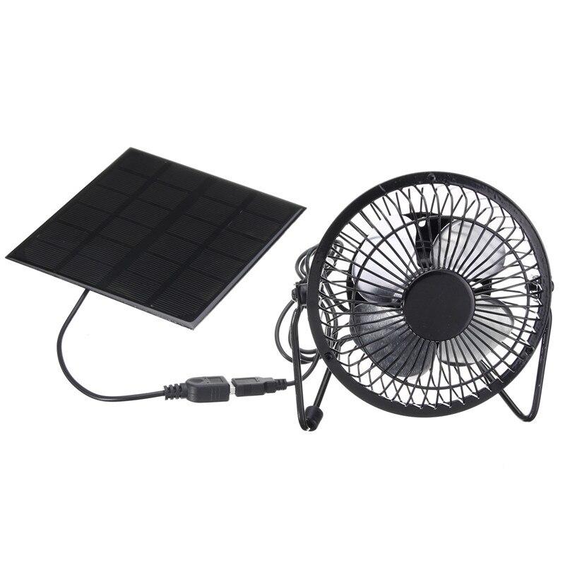 Alta qualidade 4 Polegada ventilador de ventilação refrigeração usb painel movido a energia solar ventilador ferro para escritório em casa ao ar livre viajar pesca