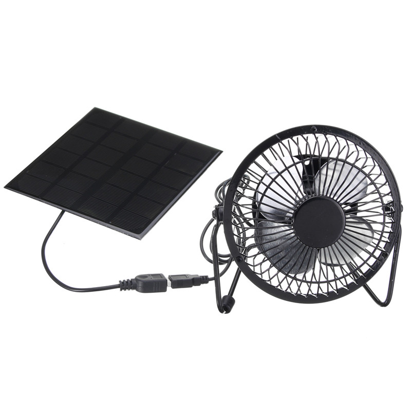 High Quality 4 Inch Cooling Ventilation Fan USB Solar Powered Panel Iron Fan For Home Office Outdoor Traveling Fishing