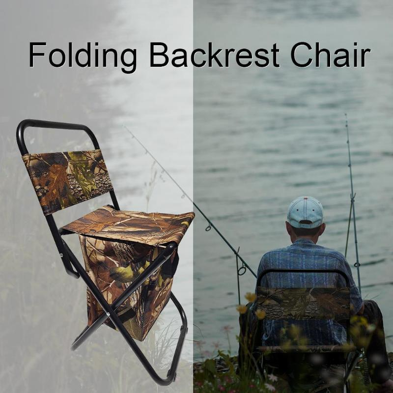 Outdoor Folding Chair Fishing Chair Seat Stool Camping Leisure Picnic Beach Chair with Backrest Storage Bag Fishing Equipment|Fishing Chairs| |  - title=