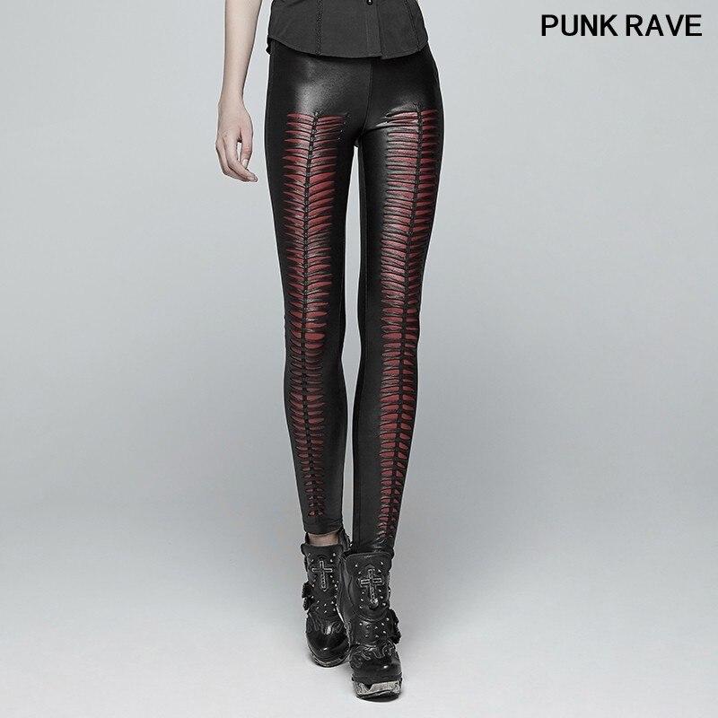 Gothic Hollow Out Stretchy Female beauty Slim Sexy Dark Leggings Punk Fashion Devil Footprints Women Black Pants PUNK RAVE K 342