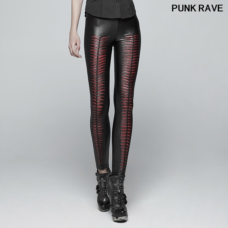 Foncé Sexy Gothique K Mode Féminine Punk De Mince Beauté Rave red Out Diable Noir Femmes Extensible Leggings Empreintes 342 Creux Pantalon Black 0Yr0wC