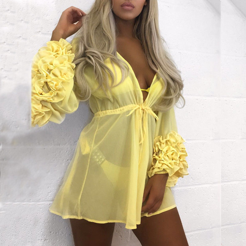 2019 New Sexy Women Beach Cover-up Long Sleeve Ruffles  Beach Tunic Bathing Suit Summer Beach Wear Swimwear Mesh Beach Dress D35
