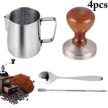 Hot 4pcs Coffee Accessories 58mm Stainless steel Coffee Tamper with 12oz Frothing Pither and Coffee Spoon and Latte Art Pen - Category 🛒 Home & Garden