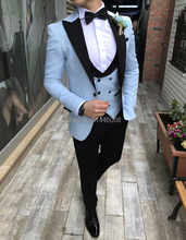 2019 Tailored Made 3 Pieces Casual Peaked Lapel Men Slim Fit Suit Sky Blue Tuxedo Groom Blazer Men Wedding Suits Terno Masculino(China)