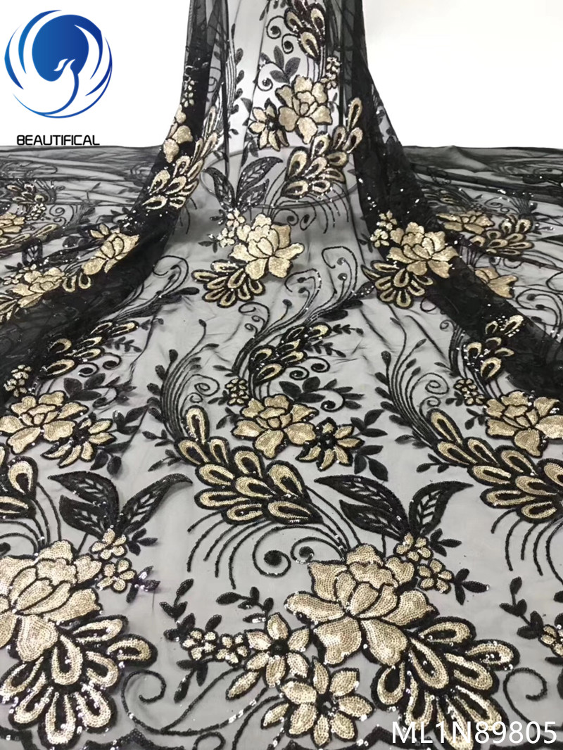 BEAUTIFICAL african sequins tulle fabric french lace 2019 latest design net sequins lace fabric for party dresses ML1N898BEAUTIFICAL african sequins tulle fabric french lace 2019 latest design net sequins lace fabric for party dresses ML1N898