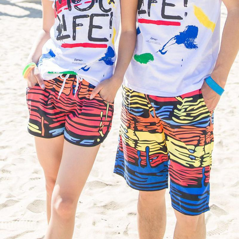 Shorts Beach-Pants Surfing Quick-Drying Women Casual for And Couple Water-Drop Colorful