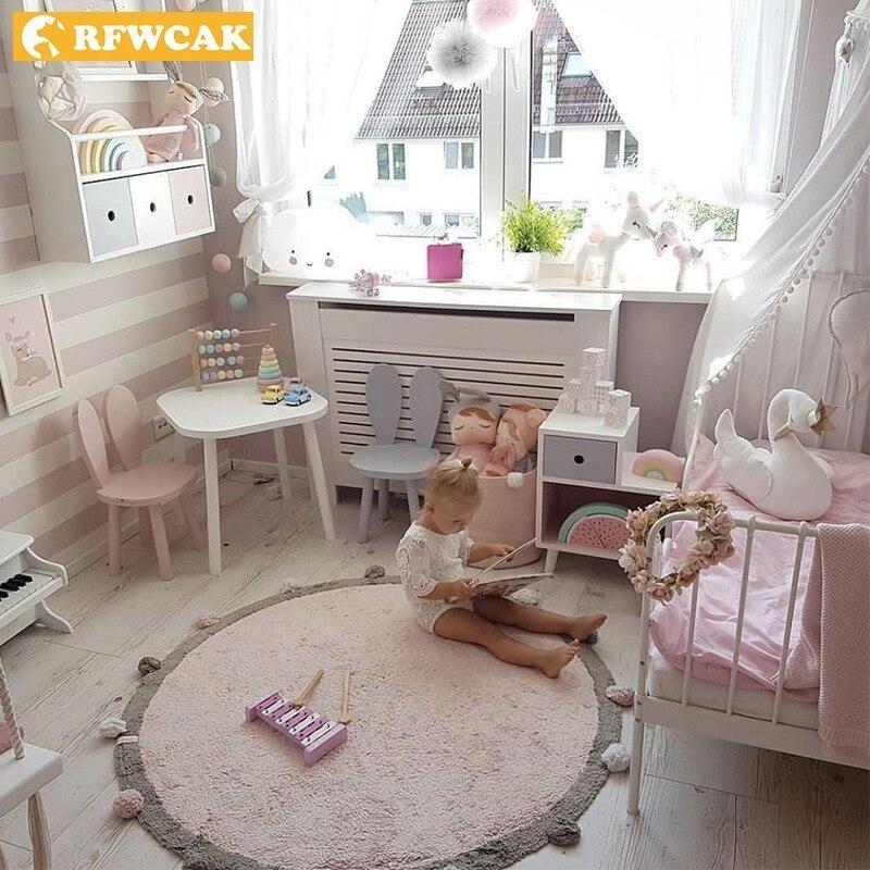 RFWCAK tapis rond Babys tapis de jeu enfants ramper chambre tapis de sol enfant tapis doux pour salon coton Tapete décor à la maison