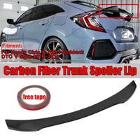 1xReal Carbon Fiber Car Trunk Rear Roof Spoiler Wing Lip For Honda For Civic X 10th Hatchback DTO V Style 2016 2019 Wing Sopiler