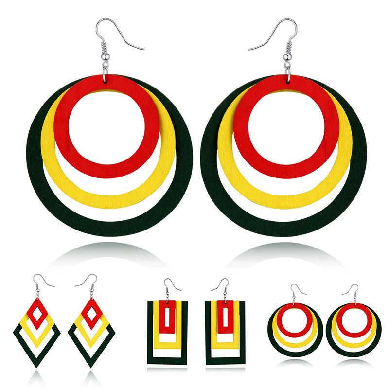 Square Big Natural Wood Multilayer 1Pair Geometric Rectangle Indian Hollow Africa Circle Wooden Round  Drop Earrings Gifts