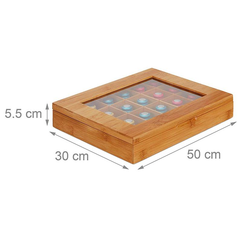 New 24 Compartments Tea Organizer Bamboo System Tea Bag Jewelry Organizer Wooden Tea Box Tea Storage Beautiful Fast Delivery in Home Office Storage from Home Garden