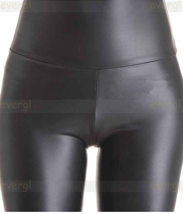 เซ็กซี่ผู้หญิง Faux หนังกางเกง Matt look กางเกงสูงเอวยืดสีดำหนัง Slim กางเกง leggings