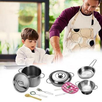 12 Pcs Mutfak Oyuncaklar paslanmaz çelik tencereler Tavalar Gıda Çocuklar Bebekler Hediyeler Mini Pretend alet takımı Simülasyon Oyun Evi