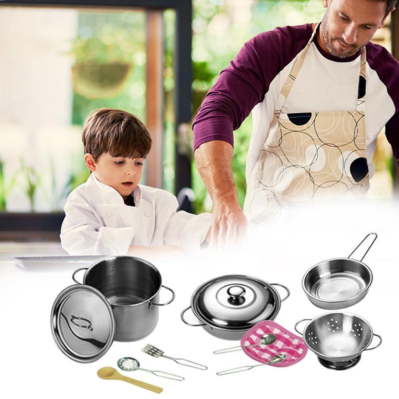 12 Stücke Küche Spielzeug Edelstahl Kochen Töpfe Pfannen Food Kinder Babys Geschenke Mini Pretend Werkzeuge Set Simulation Spielen Haus Attraktives Aussehen