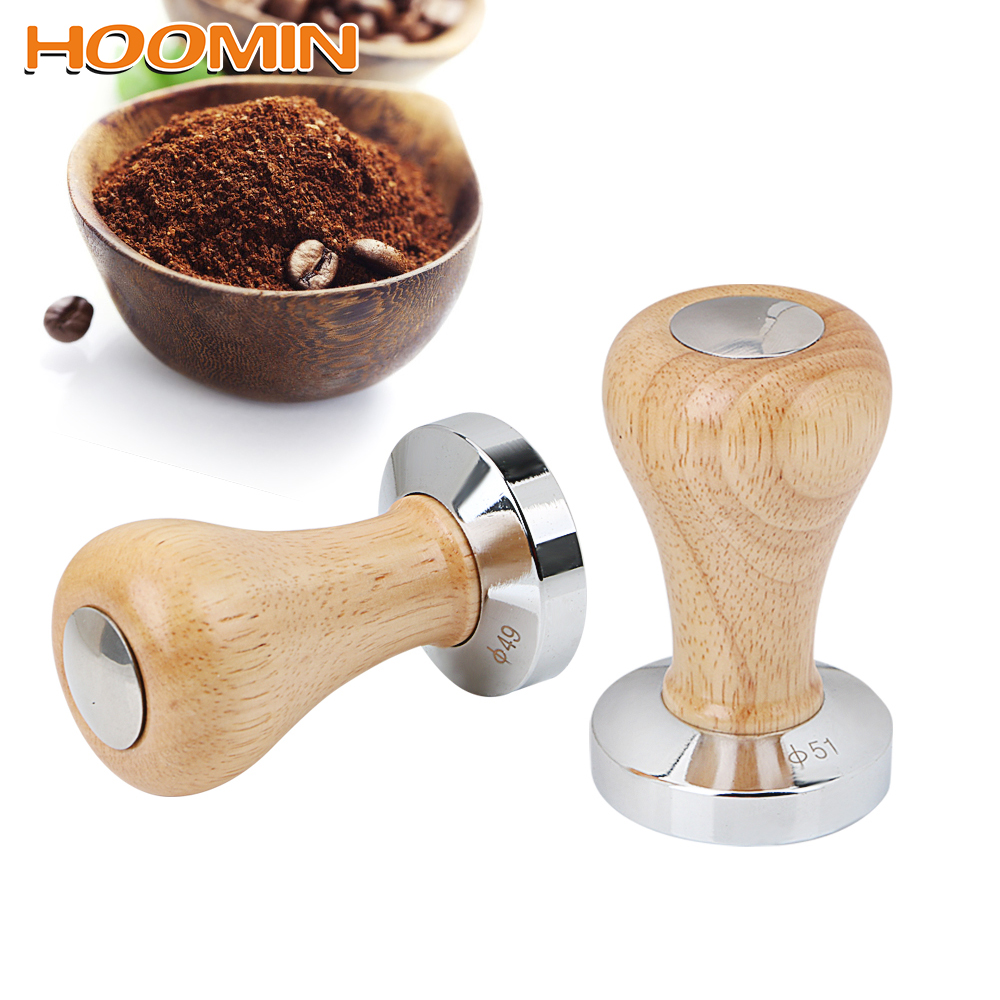 HOOMIN 51MM 58MM Wood Handle Coffee Powder Hammer Flat Espresso Tamper Stainless Steel Coffee Tamper Barista Tools Coffeeware