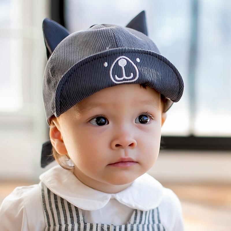 9786ac28669ca Bear Ears Baby boy hats for newborn photography props summer baseball Cap  2019 Spring New Cartoon