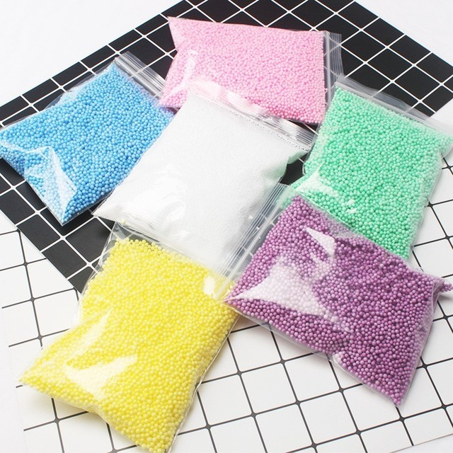 2019 New DIY Supplies Clay Crystal Foam Balls Slime Beads Particles Accessories Toy Warm Color Snow Mud Fluffy Soft Foam Pellet