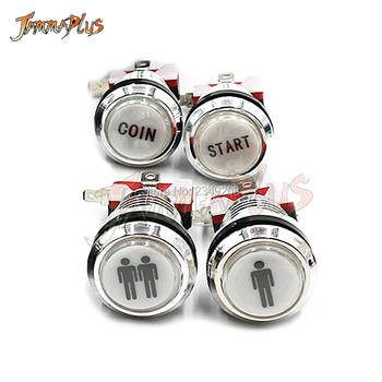 32MM Chrome-plated Push Button 1P 2P COIN PAUSE EIXT SELECT Logo 12V illuminated Button Arcade Start Button image