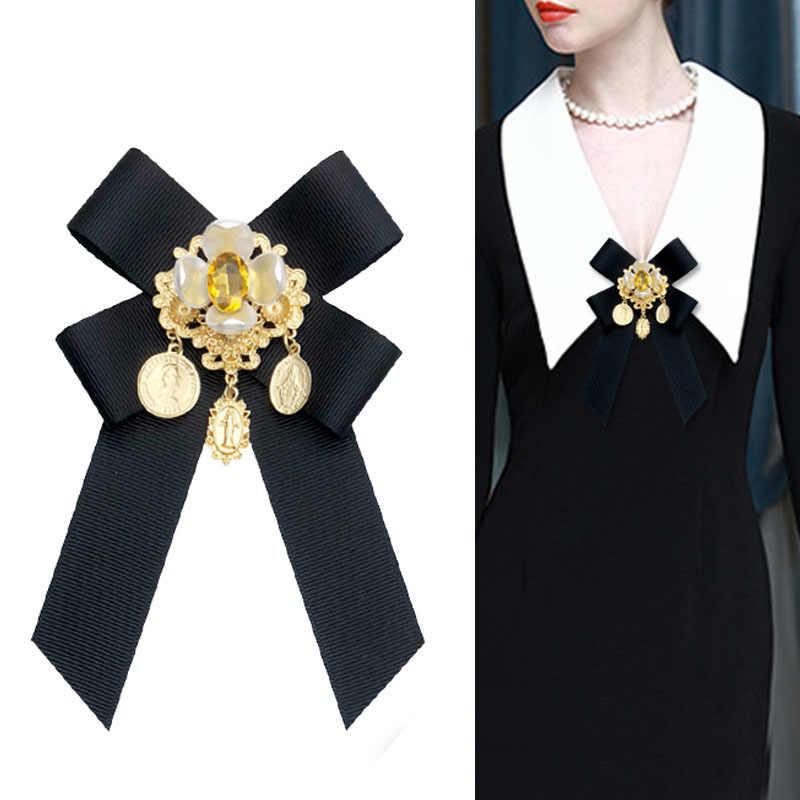 i-Remiel 2018 Fashion New Fabric Bow Tie Brooch Flower Shirt Collar Pin  Bowtie Ribbon 609de83239f7