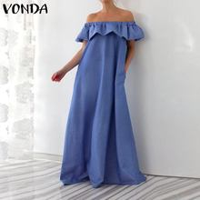 VONDA Women Summer Sleeveless Bohemian Dress 2019 Sexy Off Shoulder Ruffle Maxi Dress Floor-Length Vestido Plus Size S-5XL