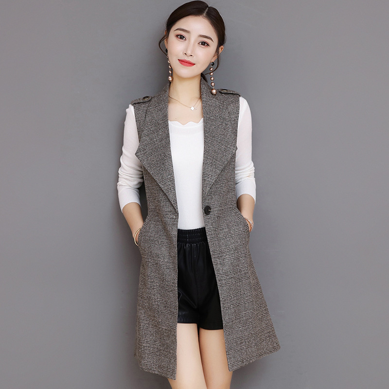#0701 Spring Long Blazer Vest Women Office Slim Single Button Plaid Women Suit Vest Fashion Elegant Waistcoat Sleeveless Jacket