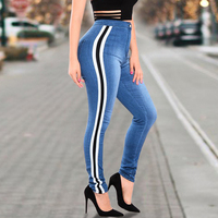 2019 Stretch Pull On Jeans High Waist Women Side Stripe Pencil Pants Shaping Hip Buttock Female Denim Trousers Slim Plus Size xl