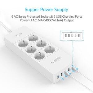 "Image 3 - ORICO HPC V1 USB האיחוד האירופי בריטניה ארה""ב חשמל שקע חכם כוח רצועת עומס מתג Surge הגנה 4 6 8 יציאות AC 5 2.4A USB יציאות"