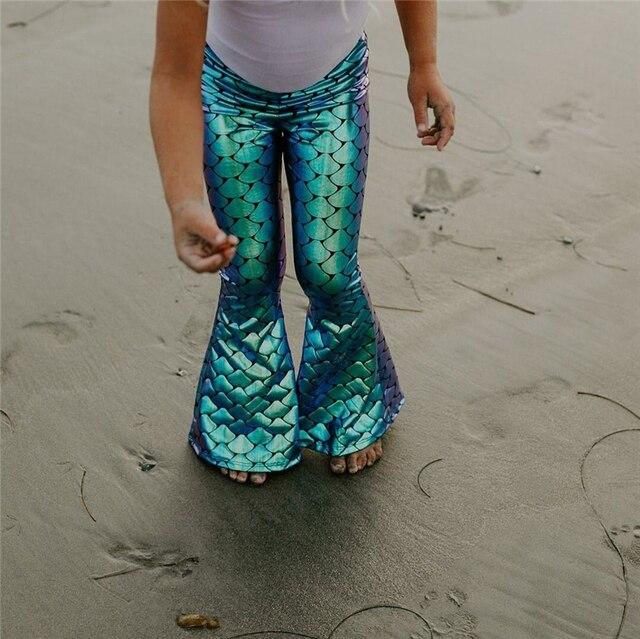 Çocuklar Bebek Kız Kaplama Mermaid Tayt Geniş Bacak Pantolon Pantolon Yeni Moda Güzel Çocuk Kız Pantolon