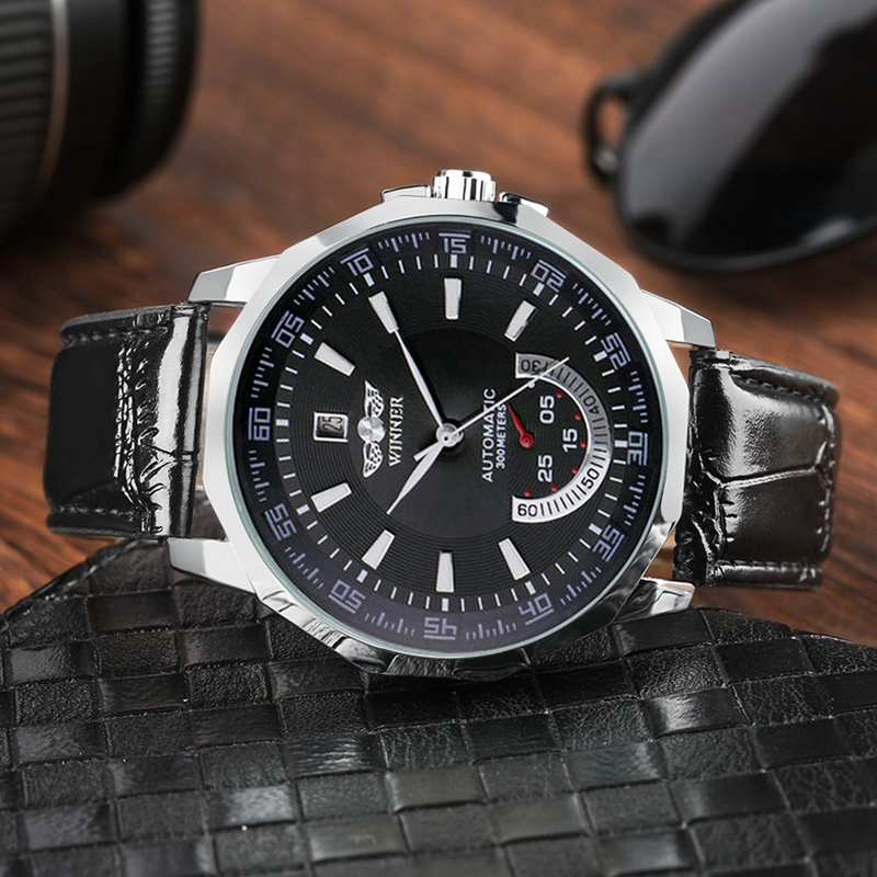 WINNER Automatic Watches Men Mechanical Watch Self Winding Mens Watches Retro Leather Date Wristwatches Top Brand Luxury Clocks in Mechanical Watches from Watches