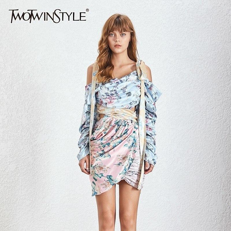 TWOTWINSTYLE Druck Asymmetrische Kleid Für Frauen Off Schulter Lange Hülse Geraffte Bandage Dünne Mini Kleider Weibliche Sommer 2019-in Kleider aus Damenbekleidung bei  Gruppe 1