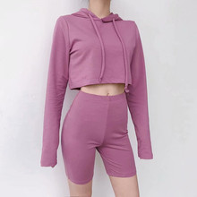2019 spring summer new solid color wild long-sleeved hooded sweater suit women, short sexy elastic waist was thin shorts women