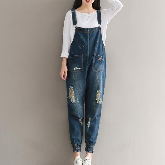 a2c3958155f  1129 Vintage Loose Plus size Embroidery Cropped Denim overalls women Romper  Autumn Winter jeans jumpsuit Combishort femme