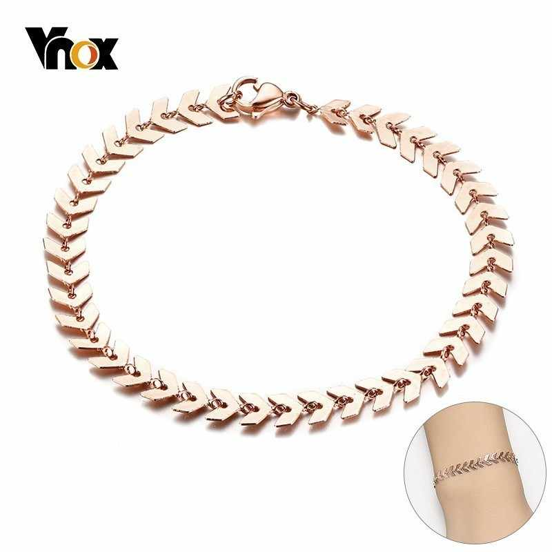 Vnox Temperament Chain Bracelets for Women 585 Rose Gold Color Stainless Steel Arrow Links Chic Girl Streetwear Ornaments
