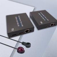HDMI удлинитель с 2 порты тонкого цифрового разъема для передачи звука и изображения продлить 200 м RJ45 передатчик TX/RX с ИК пульт более CAT5e CAT6 Подд