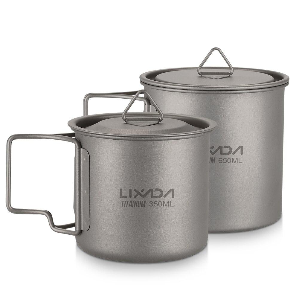 2 pièces En Titane Ultraléger Ensemble de Tasse De Camping Portatif Extérieur Vaisselle Cuisine 350 ml + 650 ml Tasse D'eau Tasse avec Poignée Pliable
