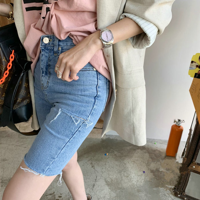 Sexy Women Summer Elastic Hole Short Pants Denim Shorts Half Ripped Zip Fly   Jeans   Trousers 2019 High Waist fashion   jeans