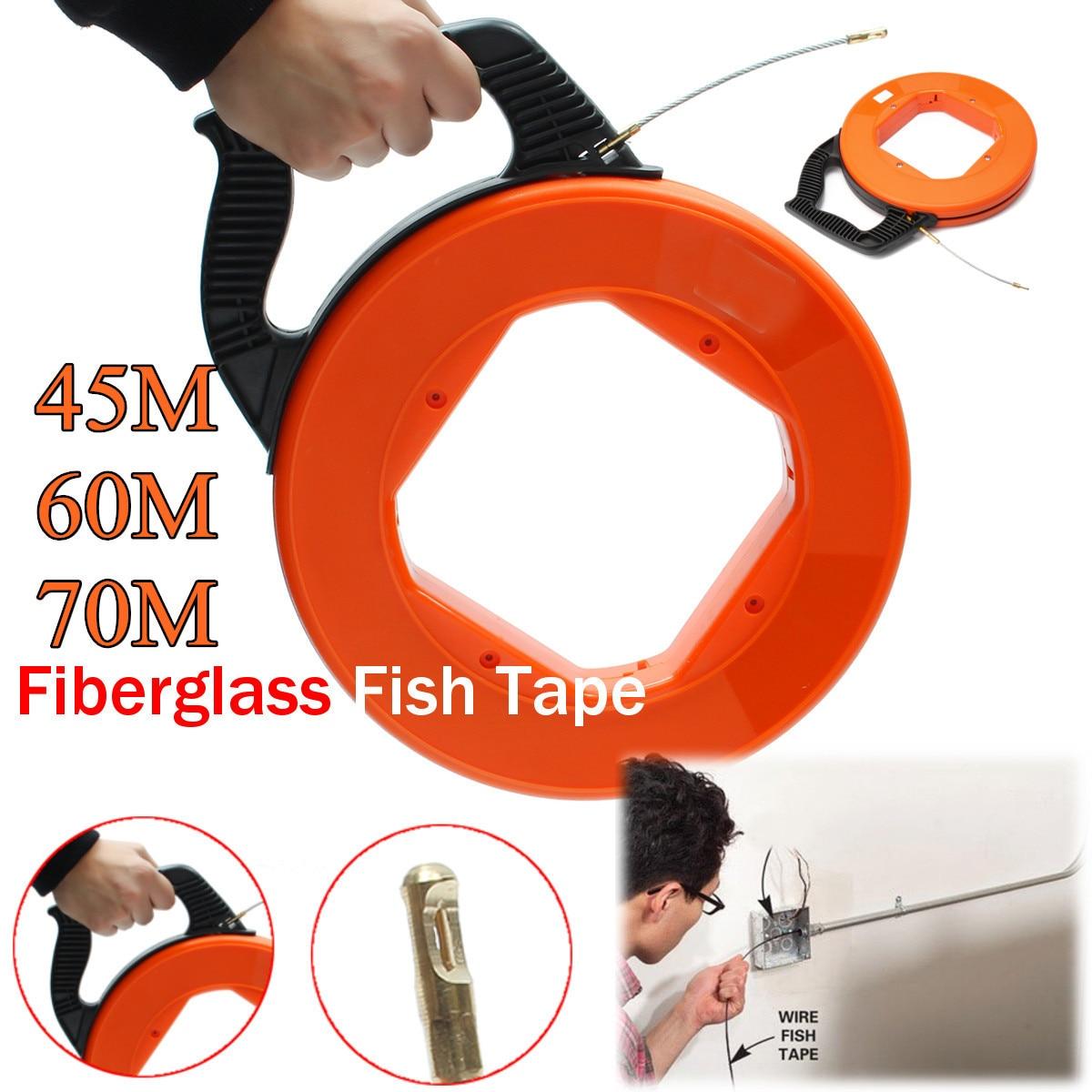 45/60/70 m fibre de verre poisson bande bobine extracteur Conduit Rodder tirant fil câble plomb Kit accessoires de câblage outils Orange 4mm